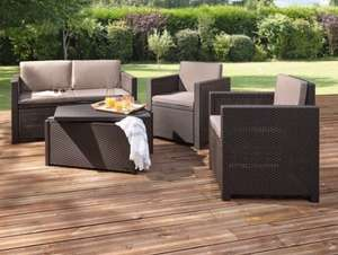 Salon de jardin Allibert Hawaï - 1 canapé deux places + 2 fauteuils ...