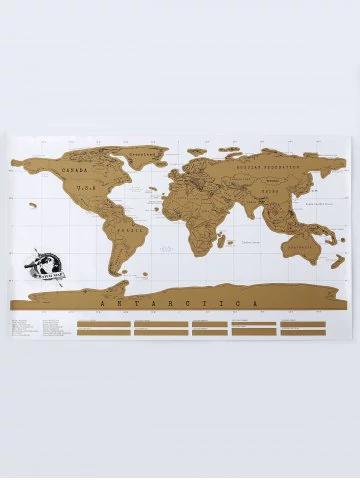 Poster Carte du Monde à Gratter Blanc / Or - 88 x 52cm