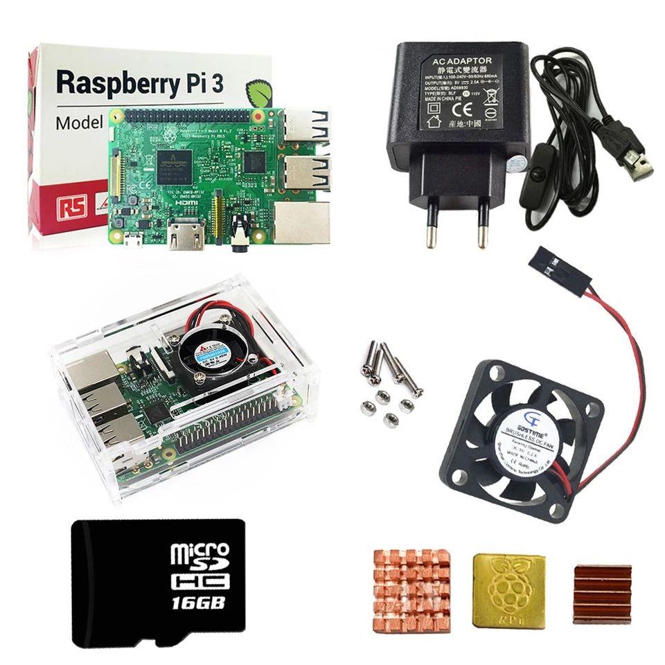 Raspberry Pi 3 kit + Acrylique Cas + UE Alimentation + USB câble avec interrupteur + 16G micro SD carte + dissipateur de chaleur avec Wifi Bluetooth