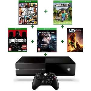 Console Xbox One + 5 Jeux  (GTA V + Minecraft + Metal Gear Solid V Ground Zero + Wolfenstein + Max The Curse of Brotherhood)