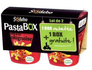 4 Pasta Box Sodebo Fusilli Bolognaise ou aux Fromages Italiens