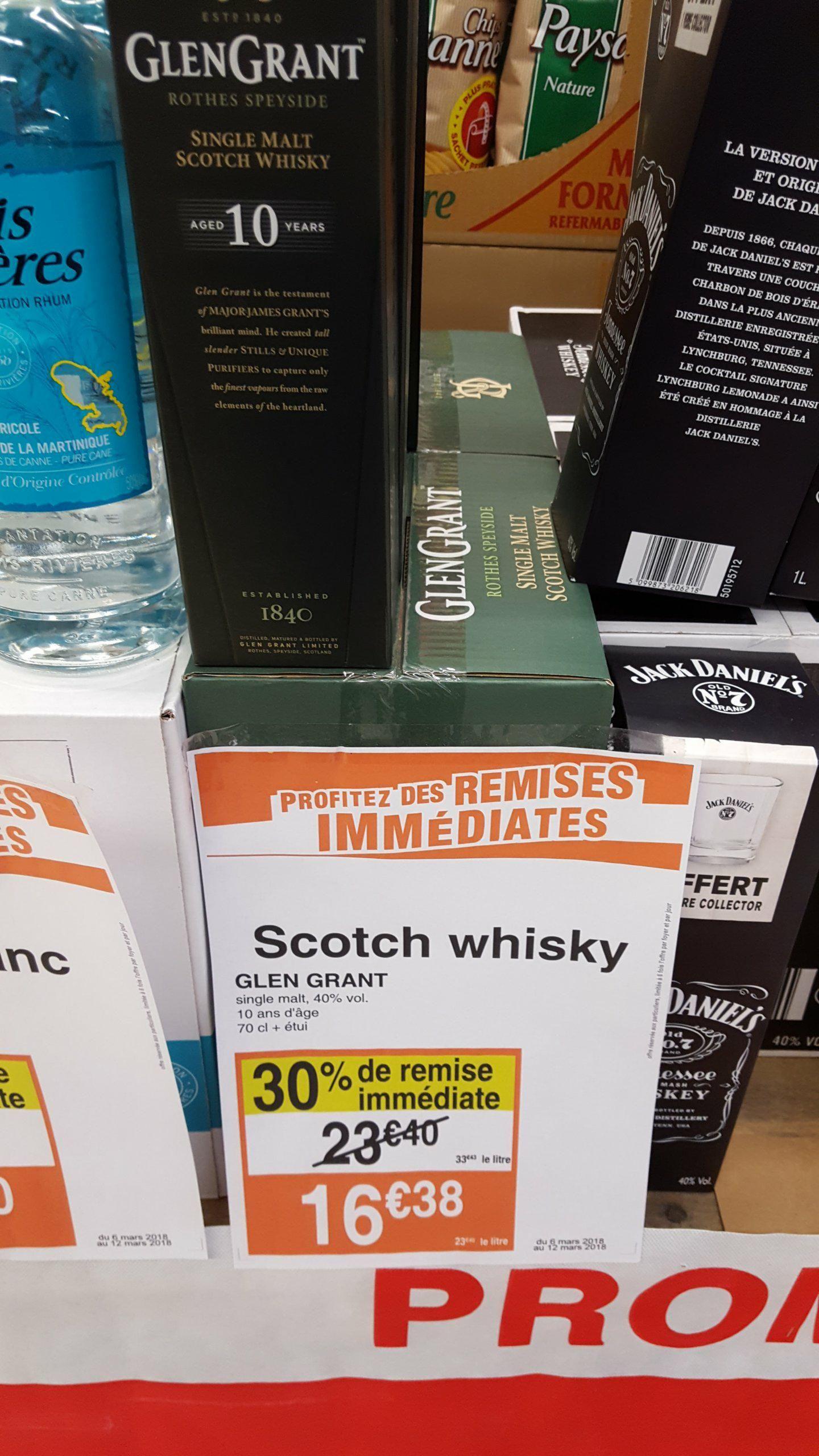 Bouteille de whisky GlenGrant - 10 ans d'âge, 70 cl - Houdemont (54)