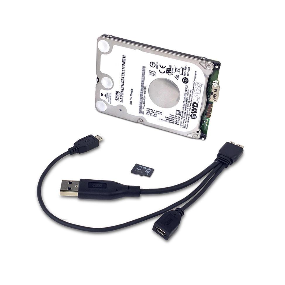 Kit de Stockage USB 3.0 WD PiDrive Foundation Edition pour Cartes de Développement Raspberry PI - Disque Dur 250Go + Câble + microSD Préchargée