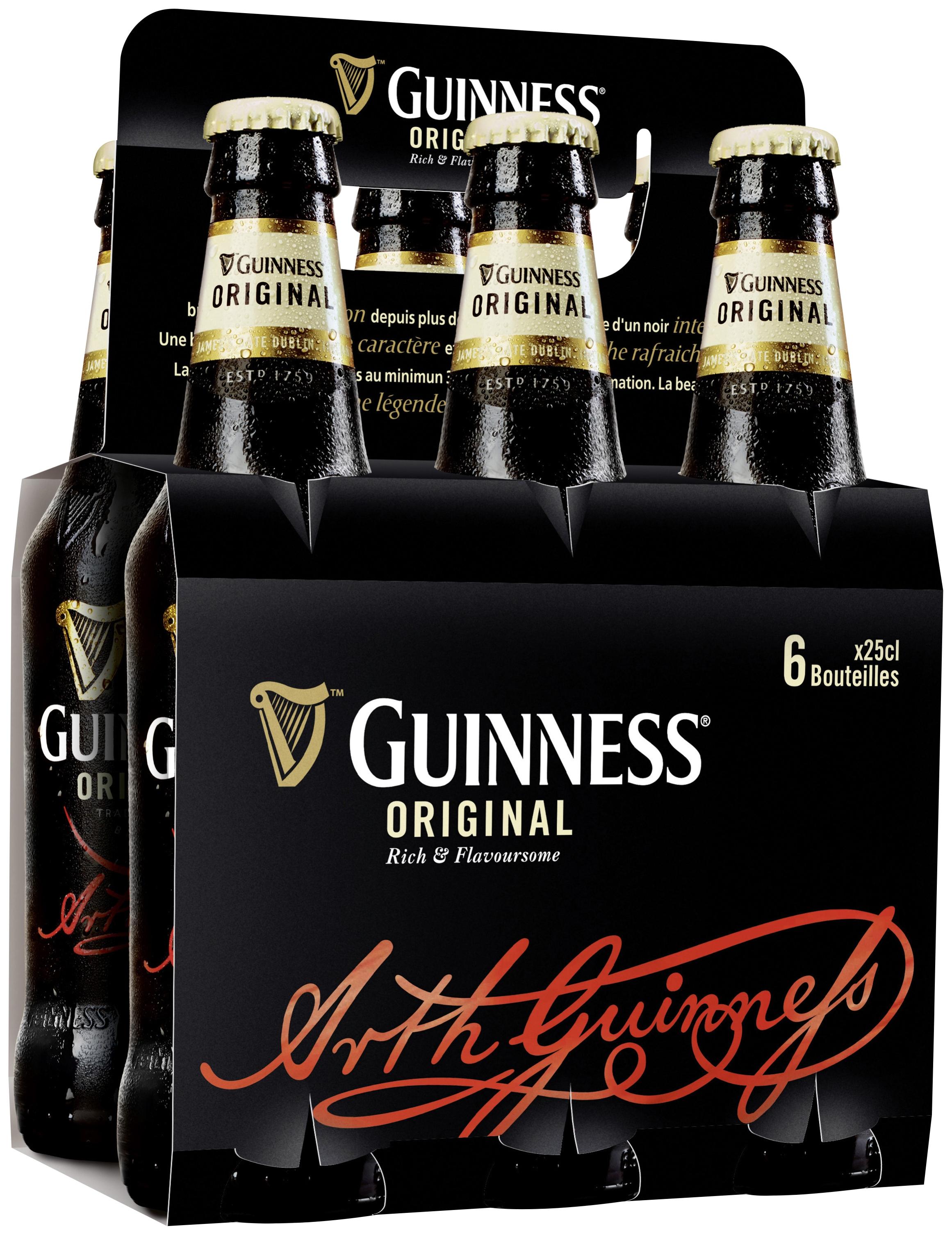 Pack de bière brune Guinness - 6 x 25 cl (Via fidélité 2,35€)