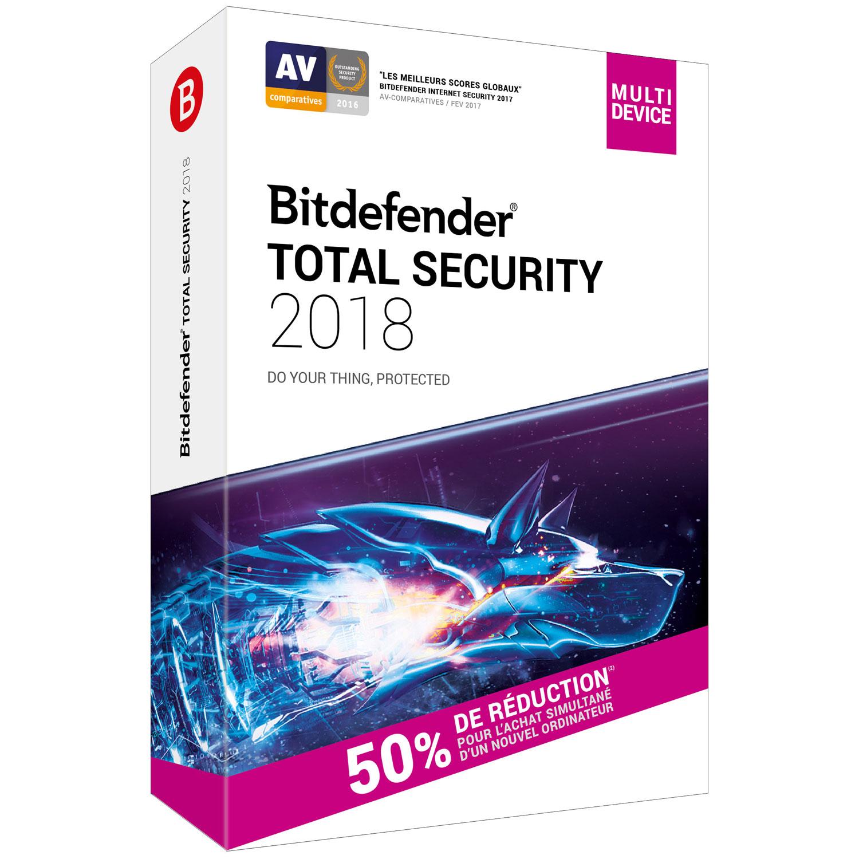 Licence pour le logiciel Bitdefender Total Security - 2 ans, 10 appareils