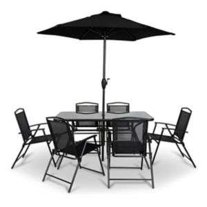 Set de Salon de Jardin Bahama - Lot de 6 Fauteuils + Table + Parasol