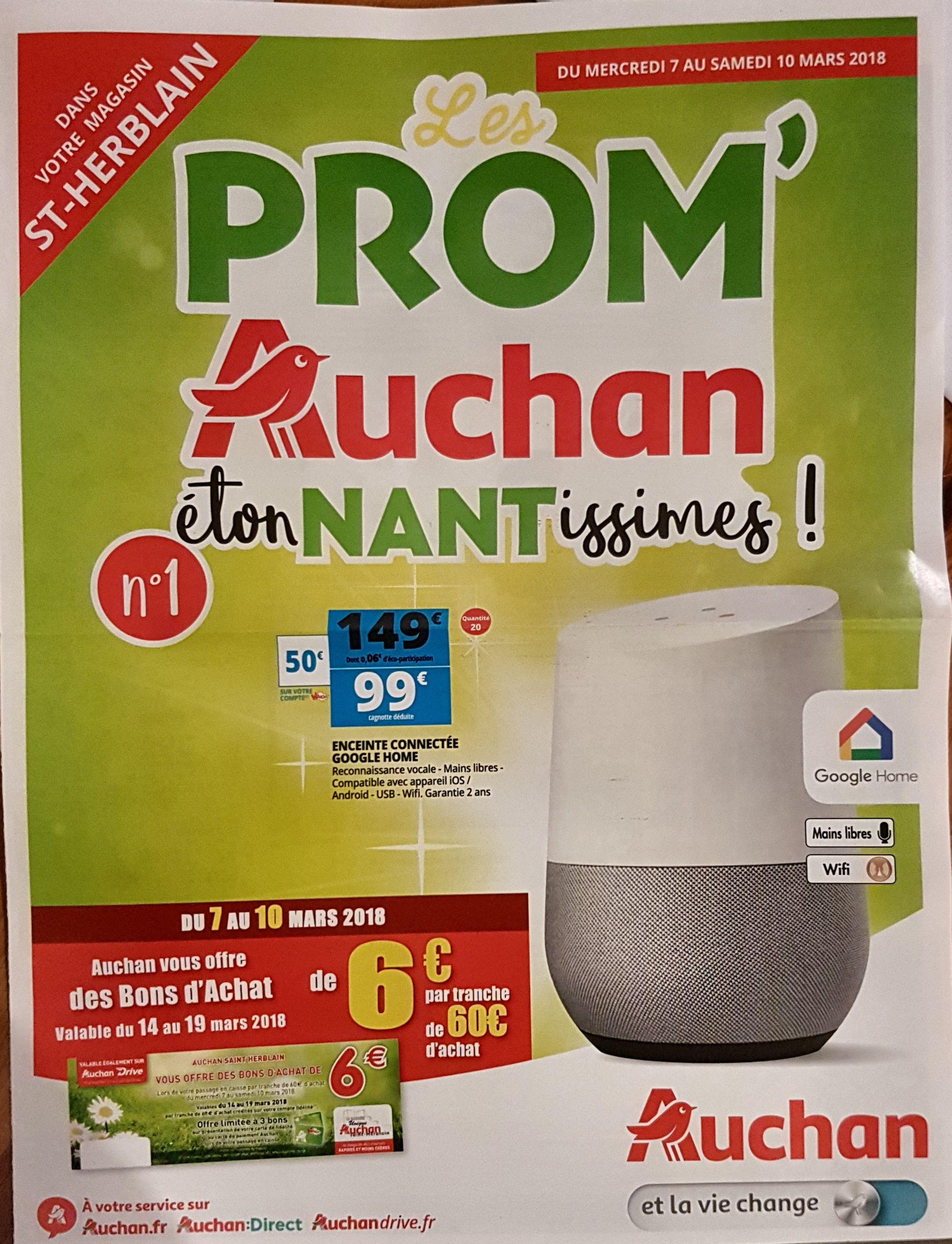 Enceinte à commande vocale Google Home Google Home à 99€ (via 50€ sur la carte waoo) - St Herblain (44)