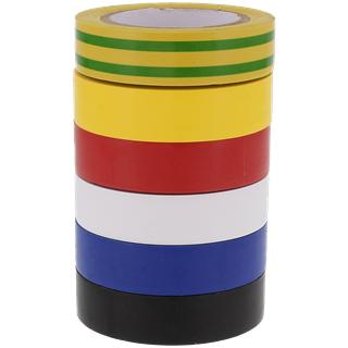 Lot de 6 Rubans Adhésifs pour Isolations Electriques (Coloris Variés) - 15mm x 10m