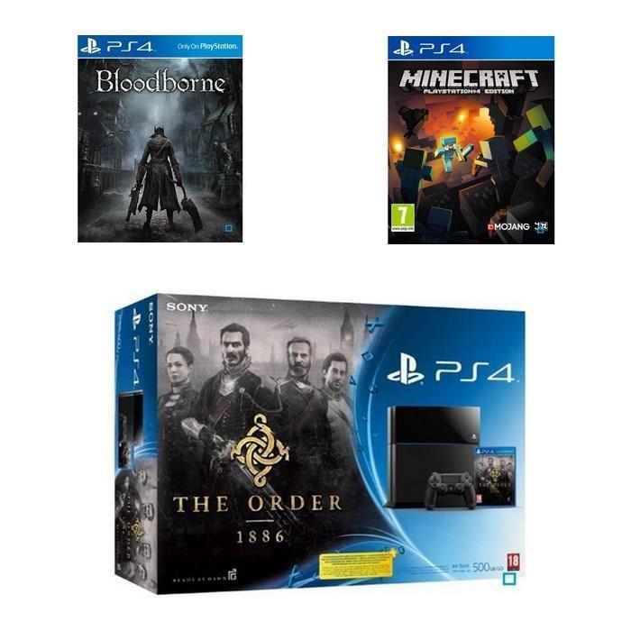 Pack PS4 500 Go + The Order 1886 + Bloodborne + Minecraft (+25% en 1 bon d'achat)