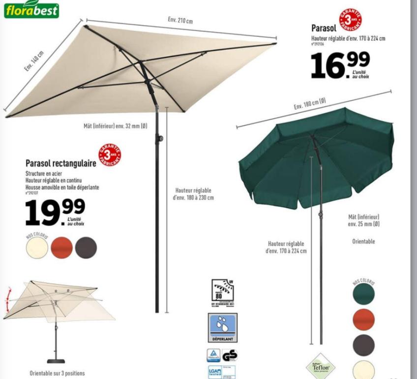 Parasol rond ou rectangle Florabest à partir de 16.99€