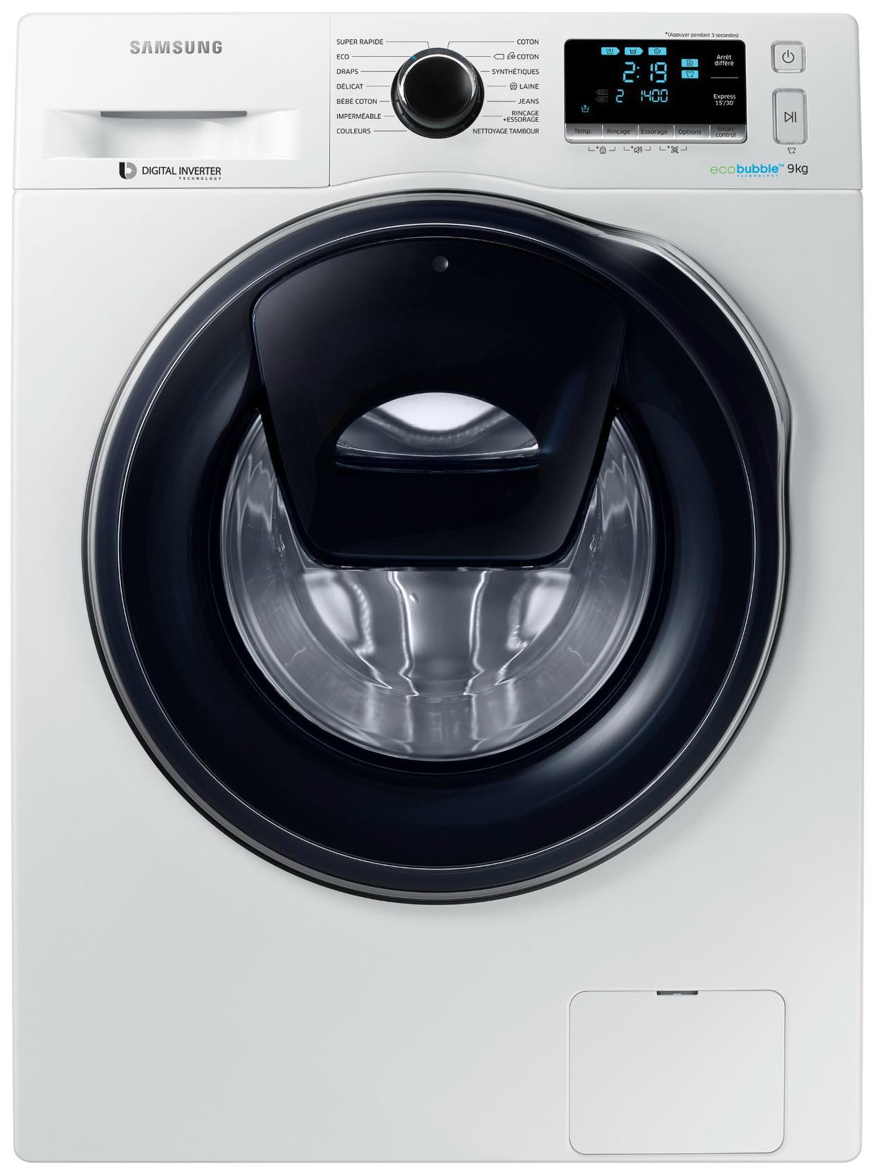 Lave-linge hublot Samsung - 9Kg, 1400 t/min, addwash, A+++ à 449€