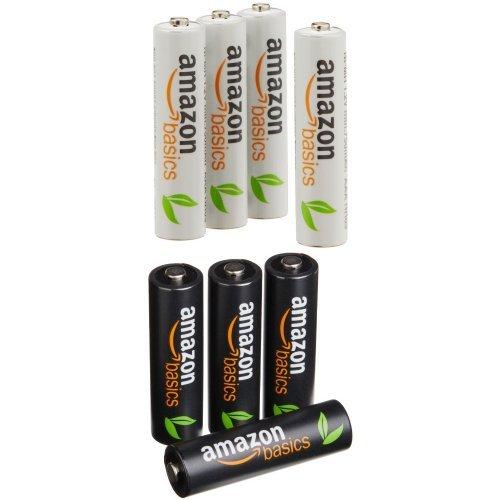 Lot de 8 Piles rechargeables AmazonBasics : 4x AA + 4x AAA