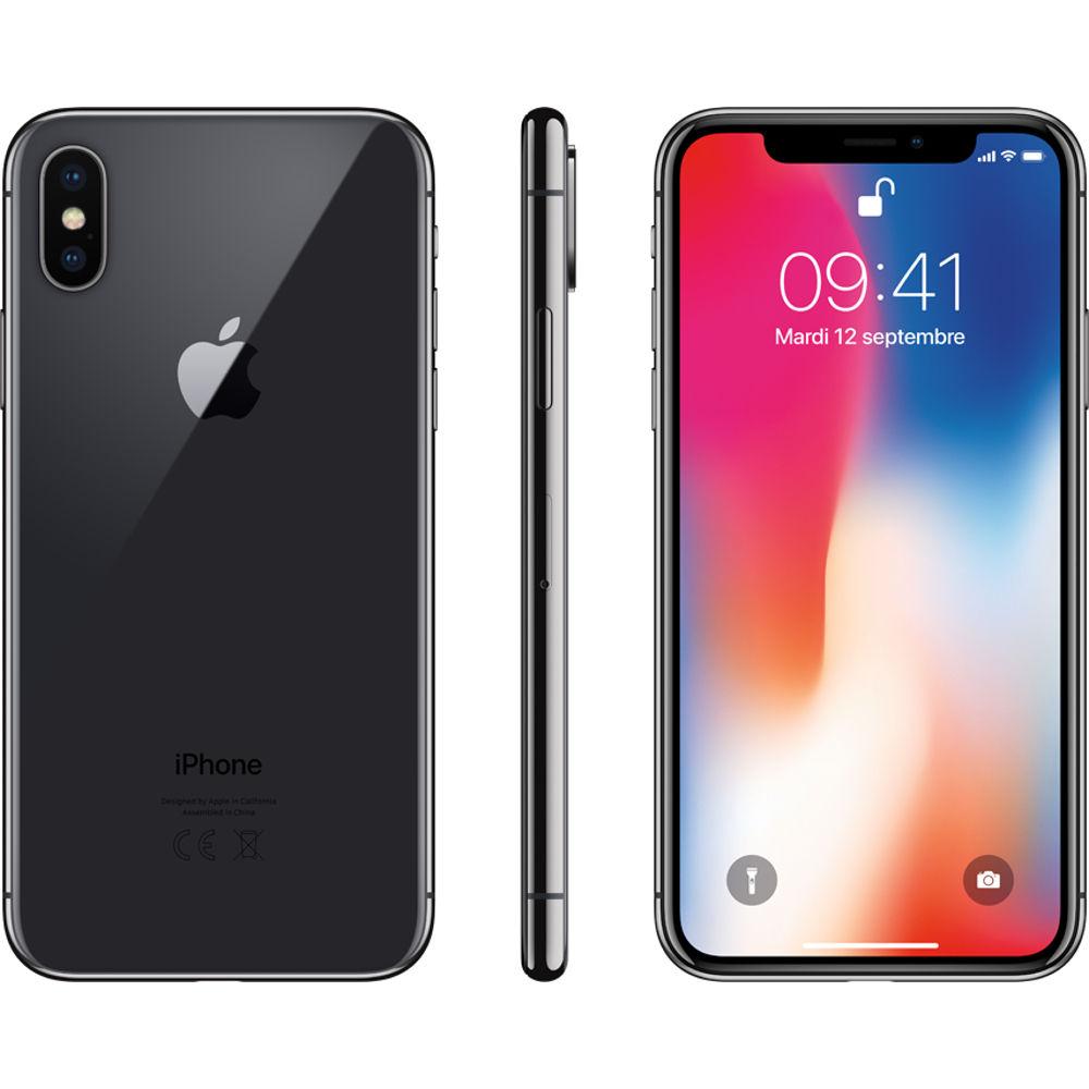 "Smartphone 5.8"" Apple iPhone X 64 Go - Gris Sideral + Powerbank + Coque + Verre trempé"