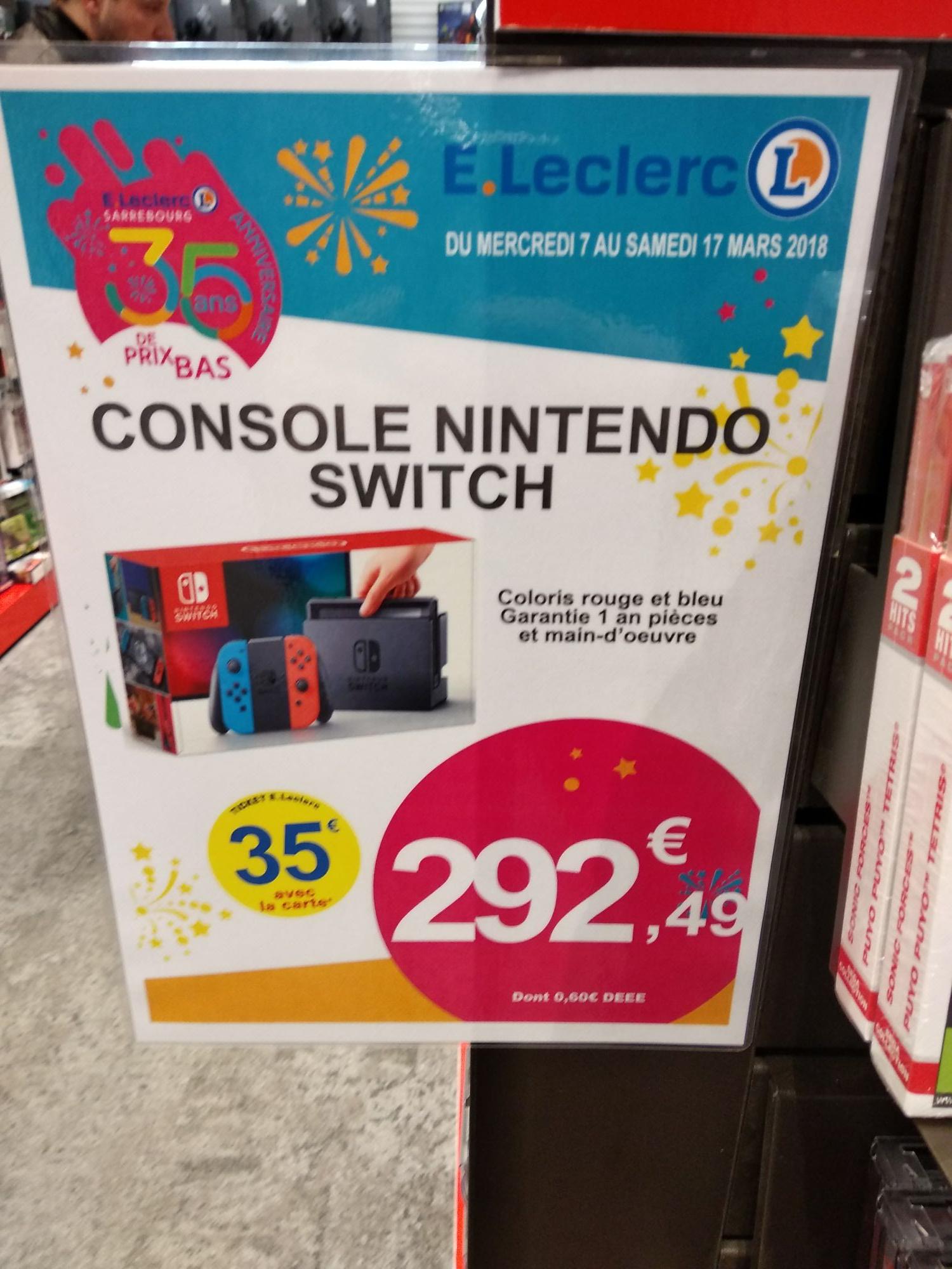 Console Nintendo Switch à 257.99 (via 35 euros sur la carte) à Leclerc Sarrebourg (57)