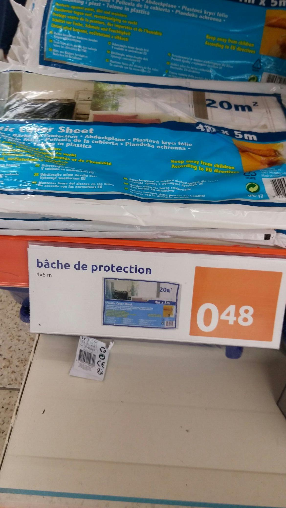 Sélection d'articles en promotion - Ex : Bâche de protection peinture et rénovation - 5m × 4m