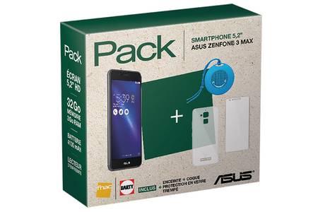 Pack smartphone ZenFone 3 Max 32 Go Noir + Enceinte + Coque + Protection en verre trempé