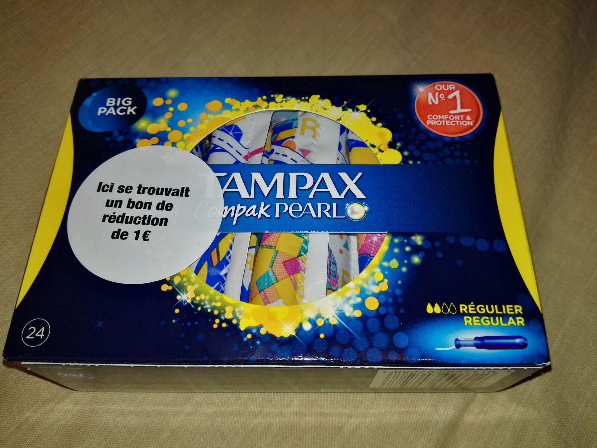 Boîte de 24 tampons hygiéniques Tampax Compak Pearl - Carrefour Noisy le Grand (93)