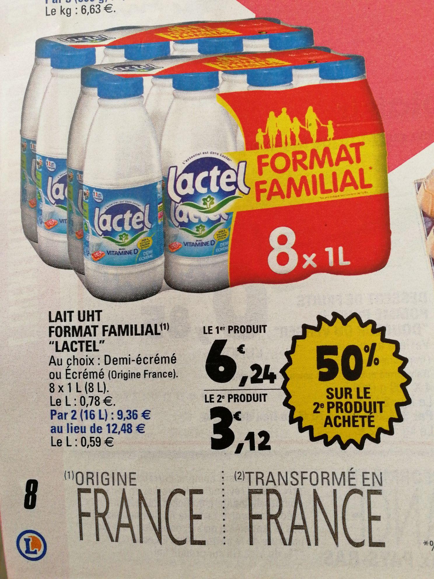 Lot de 2 packs de bouteilles de lait Lactel UHT (2x8L)