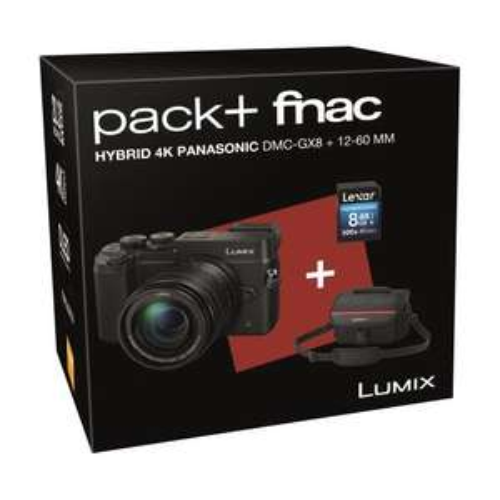 Pack appareil photo hybride Panasonic Lumix GX8 + Objectif 12-60 mm + Carte mémoire SDHC Lexar 8 Go + 70€ offerts en chèque-cadeau