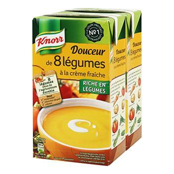 Soupe Douceur Knorr 8 légumes - 2x1L - via 1.80€ sur la carte  (Villeneuve-sur-Lot 47)
