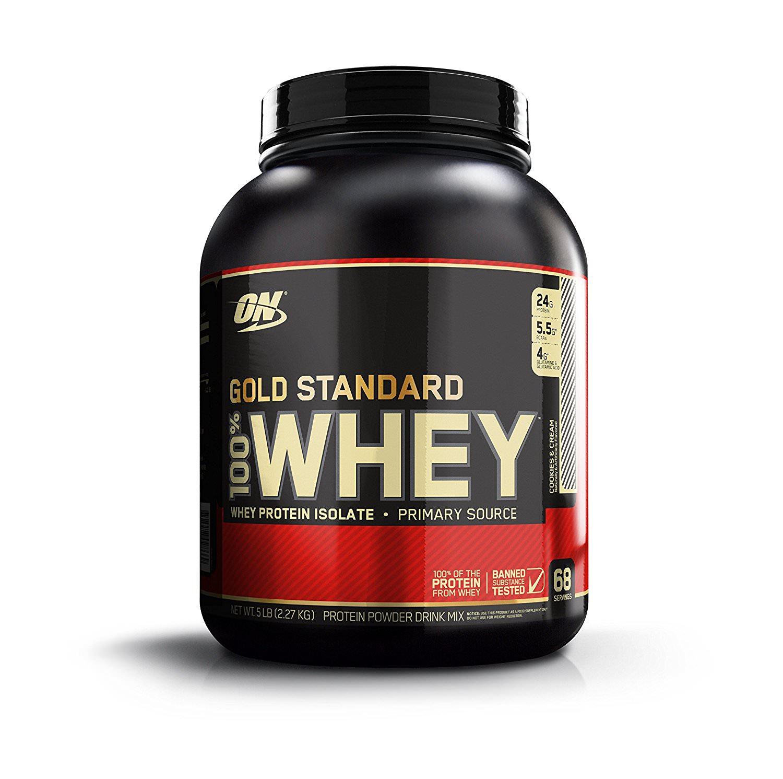 Boite de protéines Optimum nutrition - 100% Whey Gold Standard Protéine Cookies & Cream - 2.27kg