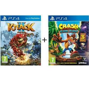 Pack 2 Jeux PS4 : Crash Bandicoot N. Sane Trilogy + Knack 2 ou Ratchet and Clank