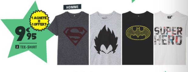 2 T-shirts diverses licences (Dragon ball, DC, etc..)