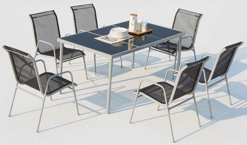 [Précommande] Table jardin 150cm acier inoxydable / verre trempé + 6 chaises