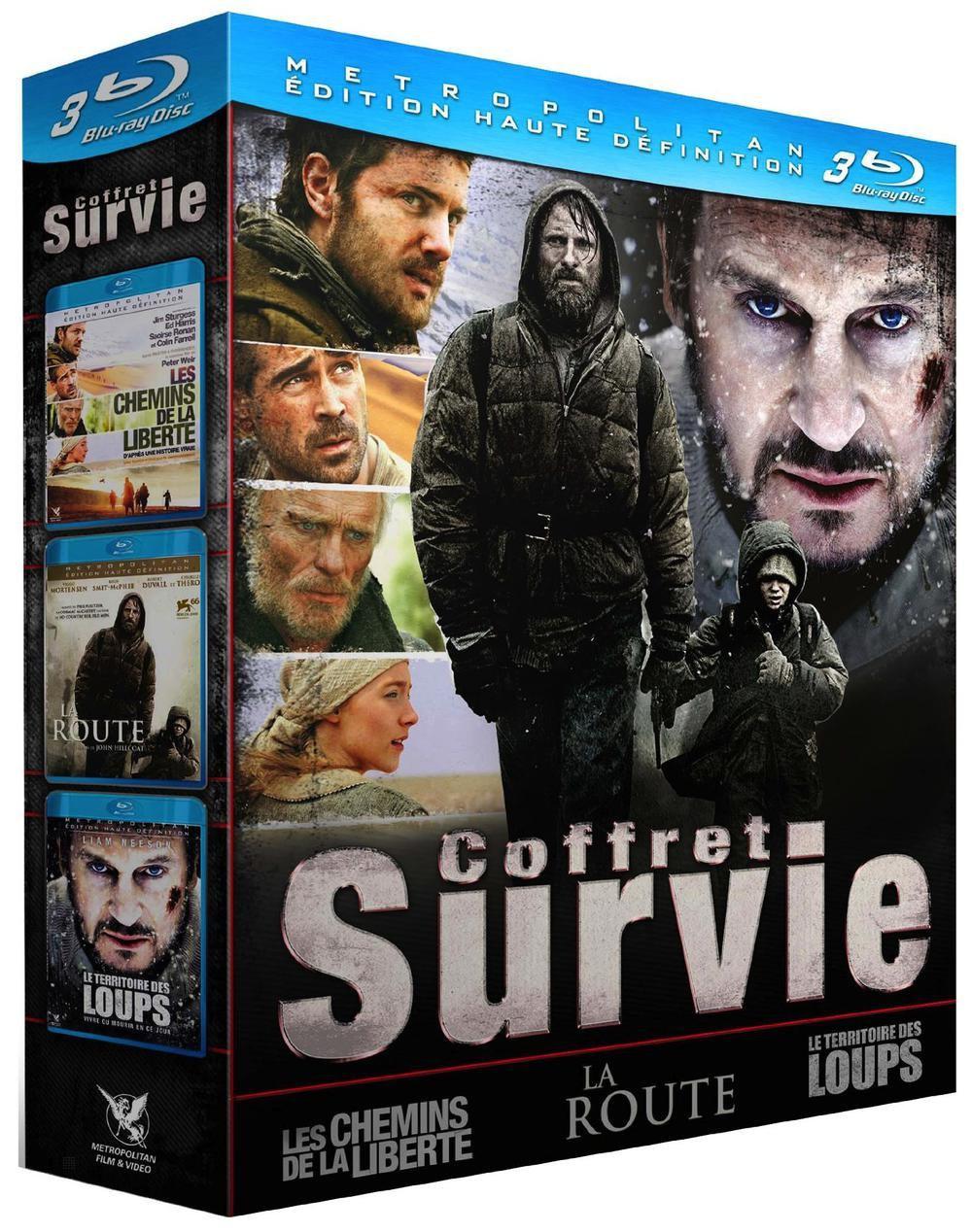 Coffret 3 films Survie en Blu-ray : Le territoire des loups + La route + Les chemins de la liberté