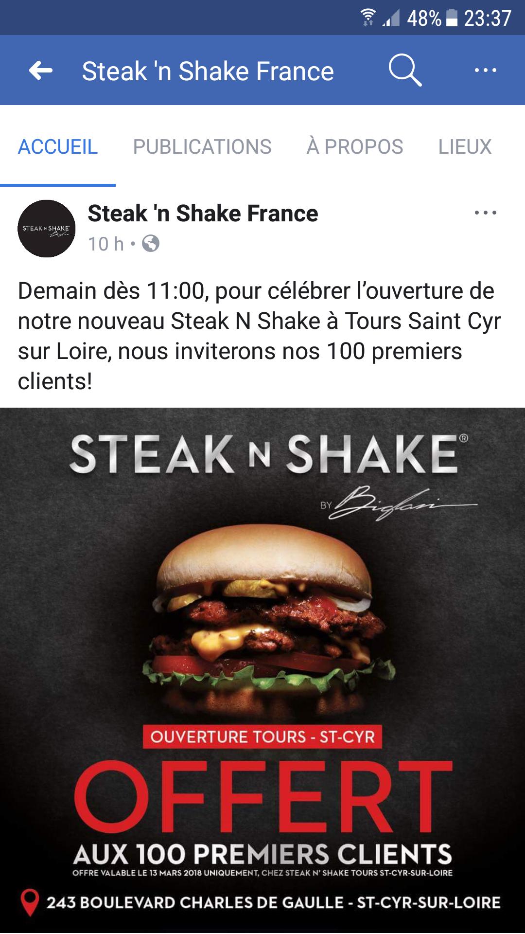 [A partir de 11h] 1 Menu Steak 'n Shake Offert aux 100 premiers clients - Tours Saint-Cyr-sur-Loire (37)