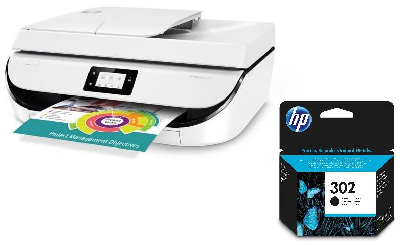 Sélection d'imprimantes HP en promotion - Ex : Imprimante multifonction HP OfficeJet 5232 (Jet d'encre, recto-verso automatique, ...) + cartouche d'encre 302 noir (via ODR 40€)