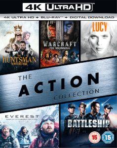 Coffret Blu-ray 4K de 5 films d'actions (The Huntsman: Winter's War + The Huntsman: Winter's War + Lucy + Everest + Battleship)