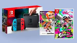Pack console Nintendo Switch (avec paire de Joy-Con bleu / rouge ou gris) + Splatoon 2 + figurine amiibo Splatoon