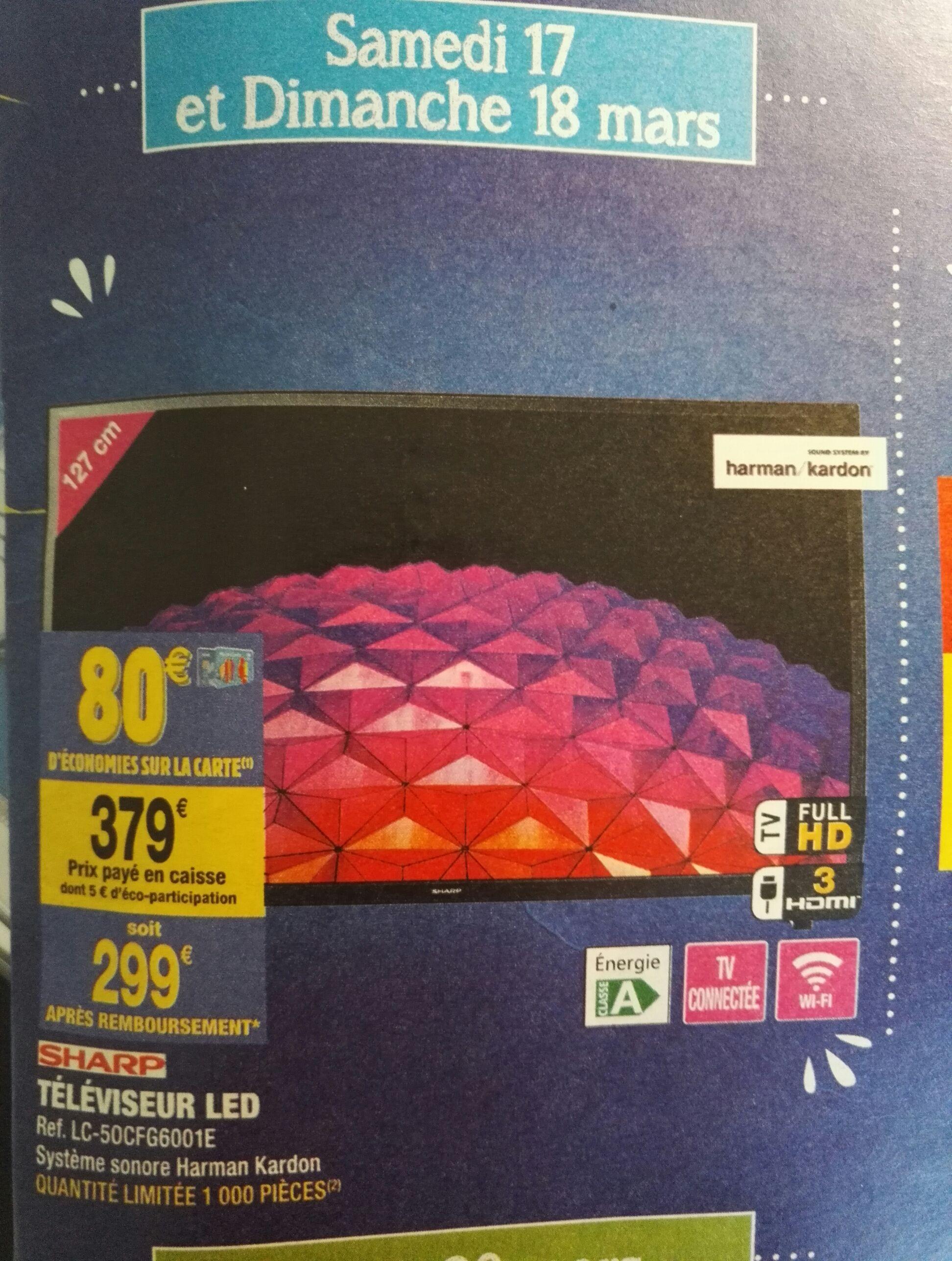 """TV 50"""" Sharp LC-50CFG6001E - full HD, smart TV (via 80€ sur la carte de fidélité) système sonore Harman Kardon"""