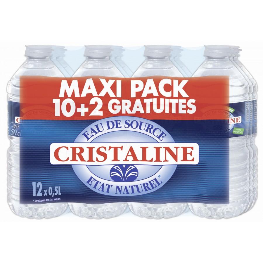 Sélection de produits en promotion - Ex : lot de 12 bouteilles d'eau naturelle Cristaline - 50 cl