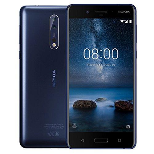 """Smartphone 5.3"""" Nokia 8 - 2K, SnapDragon 835, 4 Go de RAM, 64 Go, bleu"""