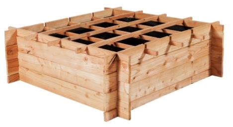 Carré potager Vercors - en mélèze brut, 100x100x30 cm