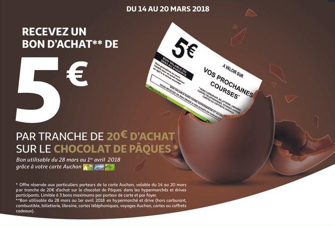 [Carte de fidélité] Bon d'achat de 5€ offert tous les 20€ d'achat sur les Chocolats de Pâques (3 bons max.)