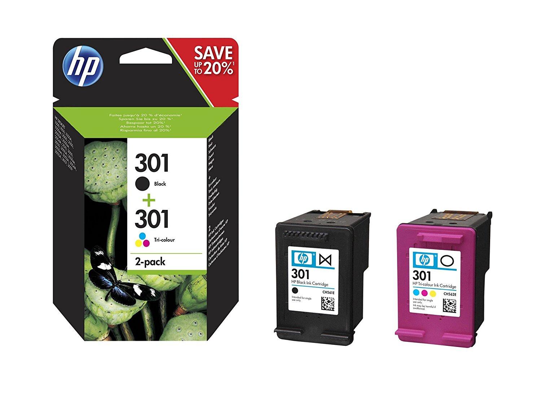 Pack de 2 Cartouches d'encre HP 301 - 1 d'Encre Noir et 1 de Trois Couleurs