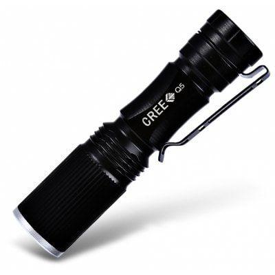 Lampe de poche LED Cree XPE Q5 - Zoomable, 600Lm, Noir