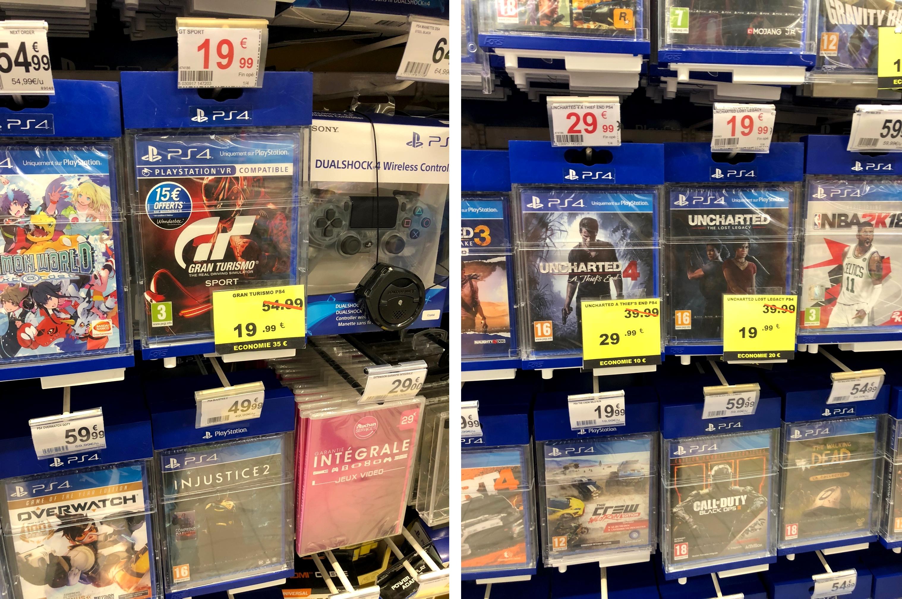 Sélection de jeux en promotion - Ex: Gran Turismo Sport et Uncharted The Lost Legacy à 19,99€ sur PS4 - Auchan Epagny (74)