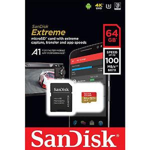 Carte MicroSDXC pour filmer en 4k, u3 A1 SanDisk Extreme - 64Go, Classe 10, ecriture 100Mo/s