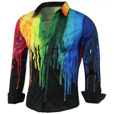Chemise à manches longues Patterned - noir (du M au 3XL)