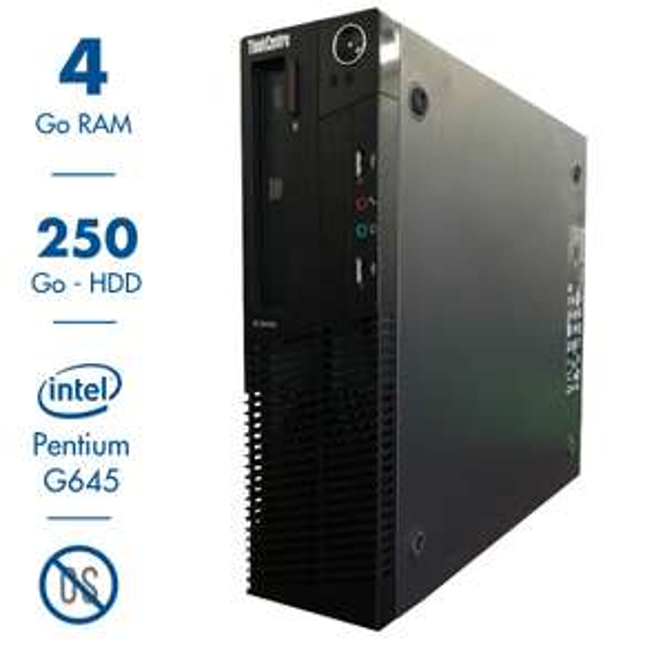 Ordinateur Lenovo ThinkCentre M82 (Pentium G2020, 4 Go de RAM, 250 Go, sans OS) - reconditionné