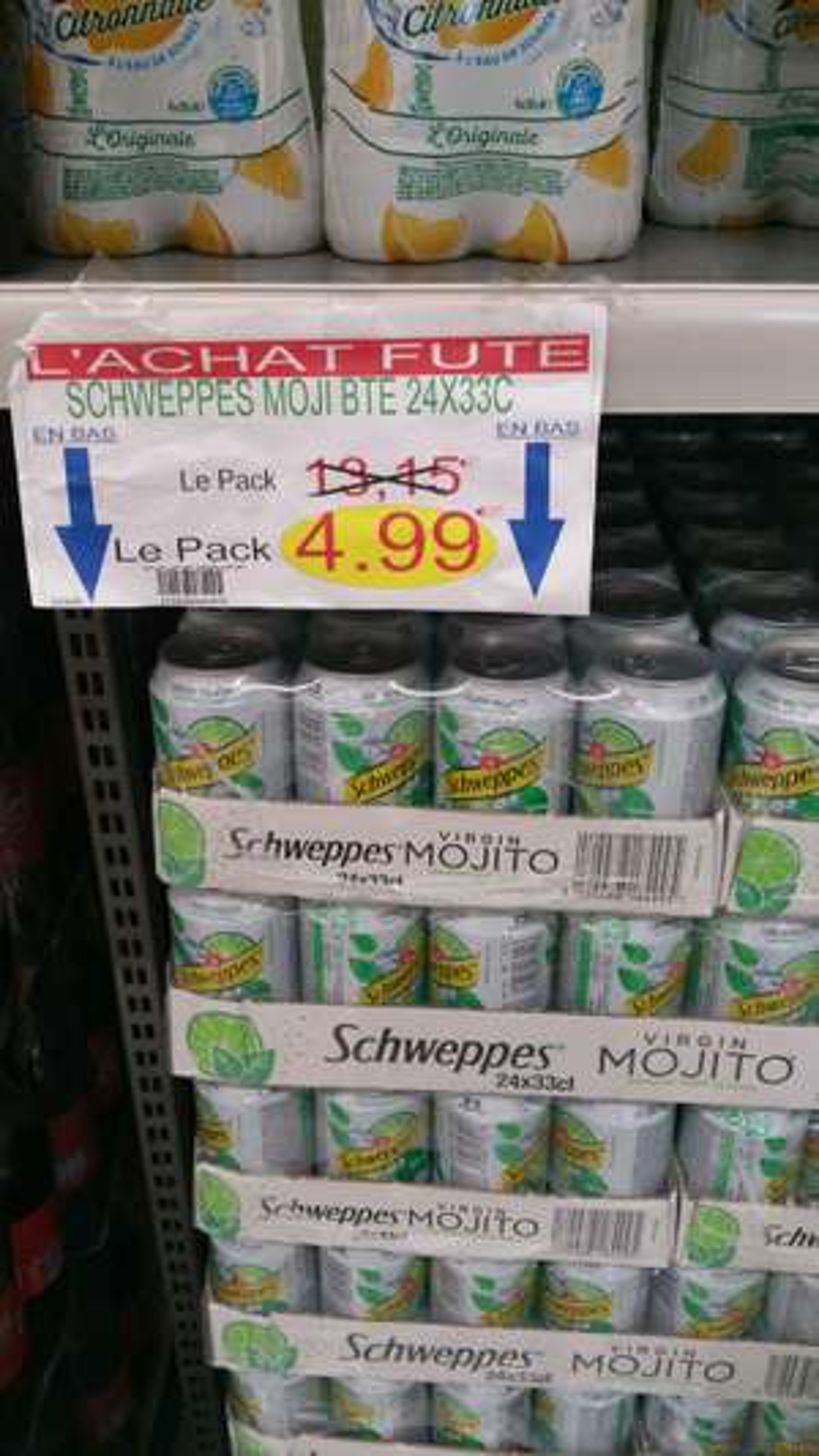 Lot de 24 canettes de soda Schweppes Virgin Mojito (33 cl)  - O'Marché Frais Argenteuil (95)