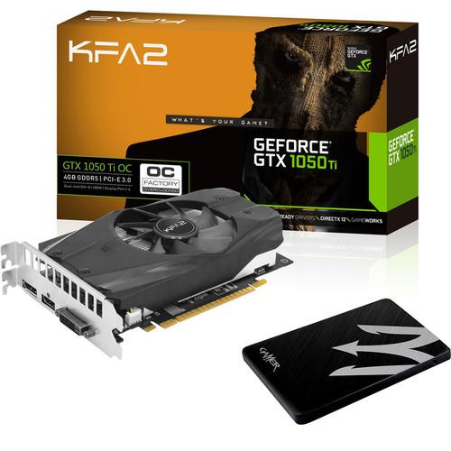 Carte graphique KFA2 GeForce GTX 1050 Ti OC, 4 Go + SSD KFA2, 120 Go, SATA III