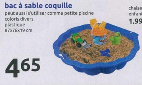 Bac à sable en forme de coquille - différents coloris (87x76x19 cm)