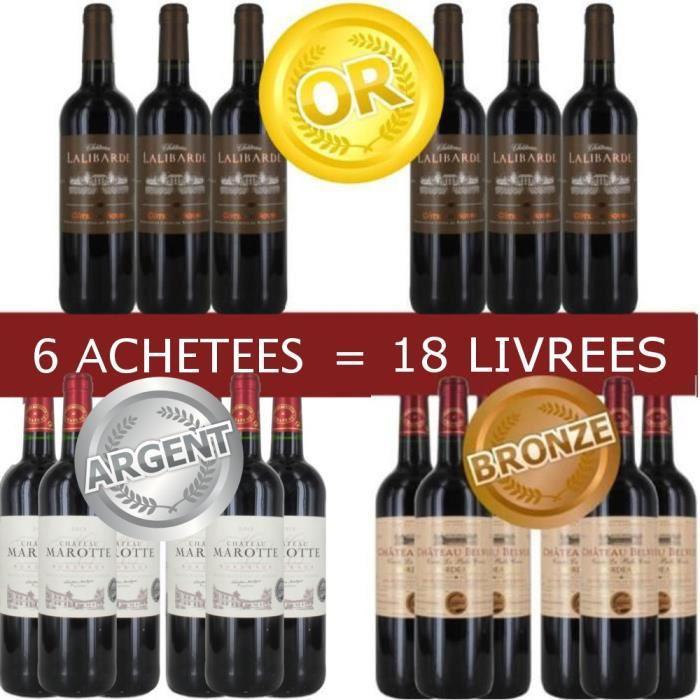 Pack 6 Bordeaux Médaillés Achetés = 12 offertes
