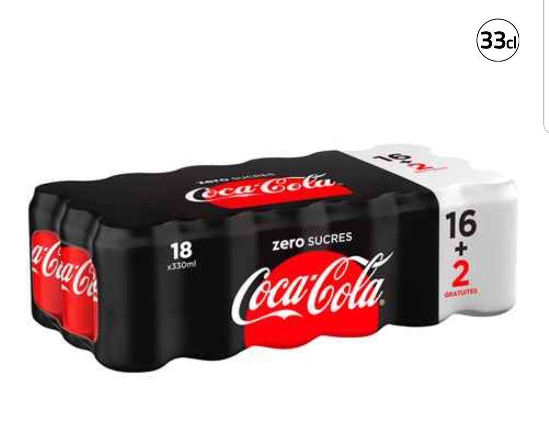 50% de réduction sur le pack de 16+2 canettes Coca-Cola Zéro 16x33cl (3,49€ sur la carte Waaoh)