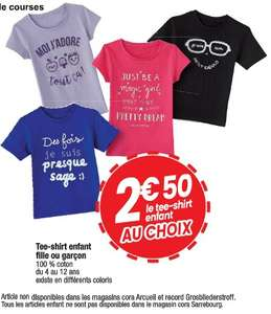 Tee-shirt pour enfant - différents coloris (du 4 au 12 ans)